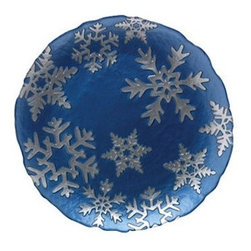 "Vietri Snowflake Blue Glass Serving Platter Italian Dinnerware - This beautiful round platter is made with luminous glass and is decorated with elegant silver snowflakes that appear three-dimensional beneath the smooth surface.  This holiday piece is sure to make happy memories.    This platter is 13"" in diameter.  Vietri   Inspiring Life, Italian Style    This beautiful round platter is made with luminous glass and is decorated with elegant silver snowflakes that appear three-dimensional beneath the smooth surface.  This holiday piece is sure to make happy memories.    This platter is 13"" in diameter.    The VIETRI brand combines the richness of European culture with a sophisticated American spirit. Fashion forward, yet classic, Italian home accessories are designed to complement the good life and celebrate Italy and all that it encompasses -- a love of life, people, nature, and simply good living. VIETRI means romance, love, timeless design, the care and talent of many hands to create and share beauty.  For over 25 years, VIETRI has provided high-quality, handcrafted products for homes and gardens that promote the essence of the Italian lifestyle.  The VIETRI brand includes collaborative designs from the best of Italian culture that capture and preserve the inspirations of our legacy.  This item is brand new."