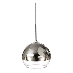 Chroma Fishbowl Pendant Lamp - Sleek shape and elegant contrast make this single pendant lamp a winner for sophisticated, modern surroundings. The fishbowl-shaped shade is made of glass and half-finished with bright, polished chrome.