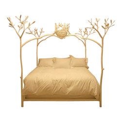 EcoFirstArt - Twig Bed with Bird Nest, White, Queen - California artist Shawn Lovell created this magnificent sculpture. Sturdy, hand-carved wood tree limbs gently arch to form a canopy with a bird's nest.
