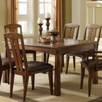 Riverside Furniture - Craftsman Home Rectangular Dining Table Set i - Includes table, 4 side chairs and 2 arm chairs. Leaf can be stored under the top. 60 in. x 42 in. top extends to 78 in. x 42 in. with one 18 in. drop-in leaf inserted. Constructed of hardwood solid and oak veneer with slate insert border. Assembly required. Table: 42 in. W x 60 in. D x 30 in. to 36 in. H. Side Chair: 20.50 in. W x 23 in. D x 40.50 in. H. Arm Chair: 21.75 in. W x 23 in. D x 40.50 in. H