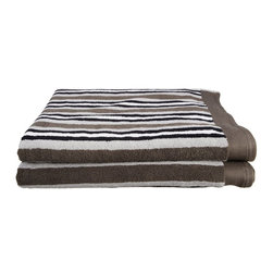 Combed Cotton 550 GSM Stripe Bath Sheet Set - Charcoal - Featuring an attractive stripe pattern these towels add color and beauty to any bathroom. With 550 GSM these luxurious towels are super soft and absorbent, while being durable and long lasting. This set includes two oversized bath towels known as Bath Sheets(30x52 each).