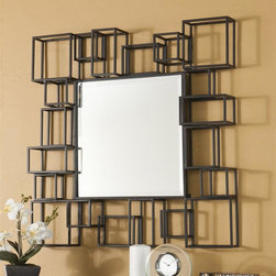 Holly & Martin - Holly & Martin Vallejo Wall Mirror - Geometric shapes surround the large mirror. Textured metal in espresso. Easy as hanging a picture. Made from metal. Assembly required. Mirror: 18.25 in. W x 18.25 in. H. Overall: 32.25 in. W x 32 in. H (21 lbs.). Assembly InstructionsAdorn your walls with this brilliant decorative wall mirror, perfect for hanging on an empty wall or above a console table. Try hanging this mirror in your living room or home office for a brand new look that you are sure to love.