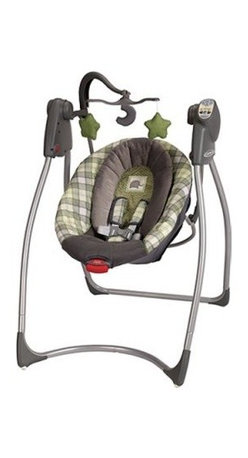 Graco Comfy Cove LX Baby Swing - Roman - With all the fussing over they have to endure, babies, just like their parents, occasionally need some me time, and the Graco Comfy Cove LX Baby Swing - Roman will give them (and you) that quiet moment to themselves. With all the learning and growing they do, that down time is crucial for your baby's development. This swing gives them that chance to rest and recharge. And with three reclining positions, six swinging speeds, and deep comfy seat with removable body support, your little one is sure to be resting in no time, giving you a chance to clean the house, sort through the mail, or just ... breathe.But this swing gives baby something even more than just rest: the ability to learn how to soothe themselves away from their parents, laying a foundation for confidence and self-reliance later in life. When they aren't ready for a little shut eye, the ten songs, five nature sounds, and plush toy mobile engage children aurally and visually providing positive multidimensional stimulation.Regardless of how relaxed or stimulated your infant is, however, no parent can be completely at ease unless they know their child is safe. This swing provides that piece of mind with its deep seat, removable body support, and five-point harness with fabric covers that will all make sure baby is comfortable and well secured.About GracoWhen Russell Gray and Robert Cone joined forces in 1942, baby products were not their focus. The pair originally formed Graco Metal Products in Philadelphia, Penn. The firm created machine and car parts for local manufacturers for 11 years. Gray left in 1953, leaving Cone as sole owner, and Cone got the idea to manufacture baby products from a Graco employee, David Saint, father of 9. Inspired by the idea of Mrs. Saint soothing her babies on the backyard glider, the Graco Swyngomatic was born. The Swyngomatic sold millions, catapulting Graco to become a leader in manufacturing juvenile products in the process. Since t