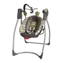 Graco Comfy Cove LX Baby Swing - Roman - With all the fussing over they have to endure, babies, just like their parents, occasionally need some me time, and the Graco Comfy Cove LX Baby Swing - Roman will give them (and you) that quiet moment to themselves. With all the learning and growing they do, that down time is crucial for your baby's development. This swing gives them that chance to rest and recharge. And with three reclining positions, six swinging speeds, and deep comfy seat with removable body support, your little one is sure to be resting in no time, giving you a chance to clean the house, sort through the mail, or just ... breathe.But this swing gives baby something even more than just rest: the ability to learn how to soothe themselves away from their parents, laying a foundation for confidence and self-reliance later in life. When they aren't ready for a little shut eye, the ten songs, five nature sounds, and plush toy mobile engage children aurally and visually providing positive multidimensional stimulation.Regardless of how relaxed or stimulated your infant is, however, no parent can be completely at ease unless they know their child is safe. This swing provides that piece of mind with its deep seat, removable body support, and five-point harness with fabric covers that will all make sure baby is comfortable and well secured.About GracoWhen Russell Gray and Robert Cone joined forces in 1942, baby products were not their focus. The pair originally formed Graco Metal Products in Philadelphia, Penn. The firm created machine and car parts for local manufacturers for 11 years. Gray left in 1953, leaving Cone as sole owner, and Cone got the idea to manufacture baby products from a Graco employee, David Saint, father of 9. Inspired by the idea of Mrs. Saint soothing her babies on the backyard glider, the Graco Swyngomatic was born. The Swyngomatic sold millions, catapulting Graco to become a leader in manufacturing juvenile products in the process. Since then, Graco has set the industry standard with products like the Pack N' Play and the Travel System. Graco is one of the world's best known and most trusted juvenile products companies. Product safety, quality, reliability, and convenience are their main sources of pride, and are recognized by parents and parenting authorities alike.