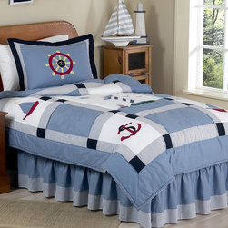 Sweet Jojo Designs - Sweet Jojo Designs Boys 4-piece Nautical Twin Comforter Set - The nautical theme of this set fills the quilt with embroidered helm wheels, anchors, boats, and lighthouses. It is all set upon a Chambray blue background with white, red, navy, and gingham accents, as well as blue and white striped finishing touches.