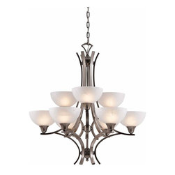 Triarch International - Luxor Chandelier in Antique Brush Steel Finish - The Luxor Double Tier Chandelier in an Antiqued Brushed Steel finish with White Alabaster Glass. 9-60 Watt Medium Base bulbs not included. UL Approved. 30 in. W x 32 in. H (45 lbs)