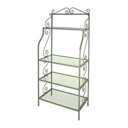 """Grace Manufacturing - 24 Inch French Bakers Rack with 4 Graduated Glass Shelves, Antique Bronze, 36"""" - Dimensions: 36 inches wide, 18 inches deep, and 77 inches tall"""