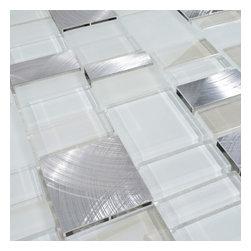 """Home Elements - Metal Stone Glass Mosaic Tile, 4""""x4"""" Sample - Product Description:"""