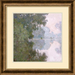 Amanti Art - Claude Monet 'Morning On The Seine, Near Giverny' Framed Art Print 24 x 24-inch - Morning On The Seine, Near Giverny is part of a serene series of Seine paintings which Monet did in 1897. Monet enjoyed the challenge of painting light on water, especially when it changed from moment to moment.