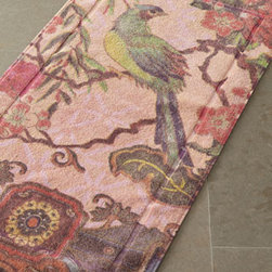 "Horchow - ""Tropical Peacock"" Bath Mats - Why settle for a solid bath mat? Give your bath an artistic touch with this ""Tropical Peacock"" bath mat in blush. It's reversible and comes in two sizes. Pre-shrunk, pre-washed cotton. Decorated on both sides. Machine wash. Made in the USA of import..."