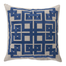 Corfu Throw Pillow in Navy - Labyrinthine turns in classic navy mark this pillow with a pattern that inspires thoughts of sunny Greek isles. The embroidered linen is a soft, textural touch for your sofa.