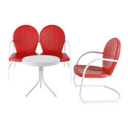 Crosley Furniture - 3-Pc Outdoor Conversation Seating Set - Includes loveseat, chair and side table. UV resistant. ISTA 3A certified. Made from steel. Non-toxic powder coated finish. Warranty: 90 days. Red and white color. Loveseat: 41.13 in. W x 29.5 in. D x 34.5 in. H (29 lbs.). Chair: 28.5 in. W x 21 in. D x 34.5 in. H (15 lbs.). Side table: 20 in. Dia. x 19.5 in. H (8.4 lbs.). Overall weight: 52.4 lbs.. Assembly InstructionsRelax outside for hours on our nostalgically inspired Griffith metal outdoor furniture. Kick back while you reminisce in this seating set, designed to withstand the hottest of summer days and other harsh conditions.