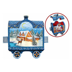"Artistic Wood Carved Train w/ Holiday Express Santa Claus Sculpture - Measures 4.5""H x 3.5""L x 3""W and weighs 1 lb. G. DeBrekht fine art traditional, vintage style sculpted figures are delightful and imaginative. Each figurine is artistically hand-painted with detailed scenes including classic Christmas art, winter wonderlands and the true meaning of Christmas, nativity art. In the spirit of giving G.DeBrekht holiday decor makes beautiful collectible Christmas and holiday gifts to share with loved ones. Every G. DeBrekht holiday decoration is an original work of art sure to be cherished as a family tradition and treasured by future generations. Some items may have slight variations of the decoration on the decor due to the hand painted nature of the product. Decorating your home for Christmas is a special time for families. With G. DeBrekht holiday home decor and decorations you can choose your style and create a true holiday gallery of art for your family to enjoy."