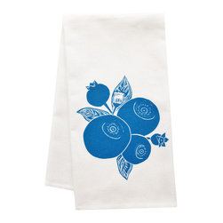 """artgoodies - Organic Block Print Blueberry Tea Towel - This high quality 100% certified organic cotton tea towel was custom made just for artgoodies! Hand printed with one of my original linocut block print images it measures 20""""x28"""" and comes wrapped in a green ribbon made from 100% recycled plastic bottles! Nice and absorbent for drying dishes, looks great when company is over, and makes a great housewarming gift!"""