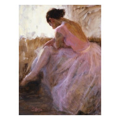 'Studio Break' Framed Oil Painting - Tiny dancer. This prima ballerina by renowned figurative artist Susan Morgan brings the art of the ballet into your home. The oil canvas is an original work of art set in a vintage gilded wood frame that will look fabulous in your formal living room or boudoir.