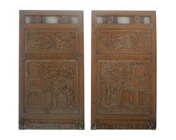 Golden Lotus - Pair Chinese Relief Carving Wall Decor Panels - This is a pair of old panels with relief carving of oriental house and people gathering secenery. It is a clean accent piece for home decoration.