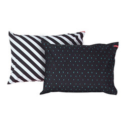 SWENYO - Black & White Stripe and Black & Green Triangle Pillow Case Set - Same is lame. Our unique pillowcases will add color and personality to any space. Hand-selected by our team of designers, this contrasting pillowcase set has vibrant colors and an incredibly soft feel finished with our signature red SWENYO tag.