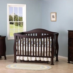 Parker Three Piece Convertible Crib Nursery Set with Toddler Rail in Coffee