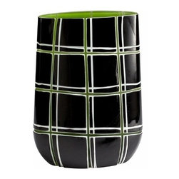 Green Black and White Plaid Vase - *Highland Bowl