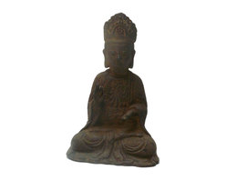 "Golden Lotus - Chinese Rustic Iron Sitting Kwan Yin Statue - Dimensions:   7""x  d4.75""x  h11"""