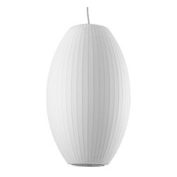 Modernica - Bubble Lamp, Cigar, Medium - Taking its cues from midcentury design, this handcrafted ceiling pendant features a white ridged shade, six feet of white cord and a nickel ceiling plate. Flank your bed with two or line three or more over your kitchen island for a little earthy, organic enlightenment.