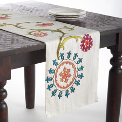 None - Embroidered Design Cotton Table Runner - Add a touch of understated elegance to the kitchen decor with this beautiful table runner featuring a unique design. The beautiful cotton runner adds a distinctive style to contemporary decor.