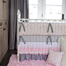 Caden Lane - Pink & White Lace Damask Ruffle Crib Bedding Set - Pink White Lace Damask Ruffle Crib Bedding Set