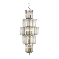 Kathy Kuo Home - Industrial Loft Modern 18 Light Bud Vase Round 5 Tier Chandelier - Grand - This is the show-stopping lighting piece you'll want to set your room aglow and your guests' hearts aflutter. With five circular gleaming glass tiers and industrial silver leaf metalwork, this chandelier brings immediate retro glamour and edgy sensibility to your home.
