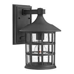 """Hinkley - Arts and Crafts - Mission Hinkley Freeport Black 12 1/4"""" High Outdoor Wall Light - This cast aluminum outdoor wall light boasts clean lines and a matte black finish. Inspired by traditional design the clear seedy glass adds a decorative contemporary touch to the grid style housing. A rectangular back plate and straight arm hold the fixture to the wall. From the Hinkley Lighting Freeport Collection. Cast aluminum outdoor wall light. Matte black finish. Clear seedy glass. Takes one maximum 100 watt bulb (not included). 12 1/4"""" high. 8"""" wide. Extends 9"""" from the wall. Wall plate is 8"""" high and 5"""" wide. Mounting point to top of fixture is 3"""".  Cast aluminum outdoor wall light.   Matte black finish.   Clear seedy glass.   Takes one maximum 100 watt bulb (not included).   12 1/4"""" high.   8"""" wide.   Extends 9"""" from the wall.   Wall plate is 8"""" high and 5"""" wide.  Mounting point to top of fixture is 3""""."""