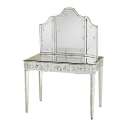 Currey and Company - Gilda Vanity Mirror - Shine on, beautiful. With this dazzling vanity table, you can see yourself in the best light every day. Resplendent in silver and antique mirror, it's as glamorous as it is functional. Line the mirrored tabletop with your favorite jewelry and perfumes, and let it star as the centerpiece of your master bath or dressing room.