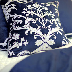 "Lili Alessandra - Lili Alessandra Mackie Navy Decorative Pillow - Lili Alessandra is known for unique and distinctive linens marked by elaborate prints, plush fabric and elegant details. Combining gorgeous colors and textures, the Mackie decorative pillow awakens a bedroom with a timeless aesthetic. Accenting luxurious navy blue velvet, this accessory's classic white linen and beaded applique delivers a refined botanical design. Includes zipper closure and 95/5 down-filled insert. Dry clean only. Lili Alessandra textiles reflect a handmade artistry that may result in slight and expected variations. 24""W x 24""H."