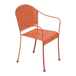 9503 Stacking Armchair by Fermob - While coated to stand up to the elements, this eclectic perforated armchair would look just as good indoors or out. It comes in an array of colors and is stackable.