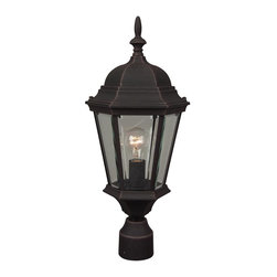 Craftmade - Cast Aluminum 8 in. Glass Post Mount in Rust - Bulb Type: A-Type. Max Watt: 1x100W. Glass Finish: Clear Beveled. Height: 22.0 in.. Width: 9.5 in.. Type of Fixture: Medium Post