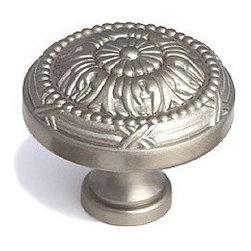 """Schaub Select - Solid Brass Versailles Satin Nickel Round 1 1/2"""" (38mm) Knob -"""