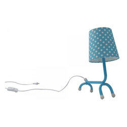 ParrotUncle - Lovely Dog Shape Desk Lamp, Blue - Accent your contemporary decor with this fresh and lovely creative design desk lamp. Designed in the shape of a small dog with slender base and bright colored burlap shade with dots, this cute desk lamp will surely brighten up your room and your mood.
