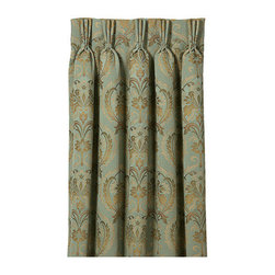 """Frontgate - Winslet Curtain Panel - 108"""" x 20"""" - From Eastern Accents. 108"""" x 48"""".. Because this product is specially made to order, please allow 4-6 weeks for delivery. Dry clean only recommended. The striking Winslet Bedding Collection brings romance to the master bedroom. Adorned in gentle silk and plush chenille, this dreamy bedding features muted hues of sea blue, beige, and aloe. Each exquisite piece is decorated in lavish trimmings and designed with ruched and banded details.  . . .  . Made in Italy. Coordinates with the Winslet Bedding Collection."""