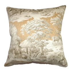 Pillow Collection - The Pillow Collection Feramin Toile Pillow - P18-42106-AQUA-C100-BACK - Shop for Pillows from Hayneedle.com! The soothing pastoral scenes and traditional European styling make The Pillow Collection Feramin Toile Pillow a gorgeous choice for any room. Made of 100% cotton this elegant square pillow features a plush 95/5 feather/down insert for the ultimate in softness. The natural theme of the classic French country toile print is available in a variety of colors so you can mix and match for the perfect look.About The Pillow CollectionIdentical twin brothers Adam and Kyle started The Pillow Collection with a simple objective. They wanted to create an extensive selection of beautiful and affordable throw pillows. Their father is a renowned interior designer and they developed a deep appreciation of style from him. They hand select all fabrics to find the perfect cottons linens damasks and silks in a variety of colors patterns and designs. Standard features include hidden full-length zippers and luxurious high polyester fiber or down blended inserts. At The Pillow Collection they know that a throw pillow makes a room.