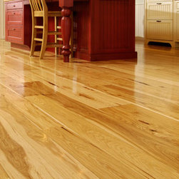 Hickory floor - Hickory is another wood species that's showing up on floors. It has a grain pattern and natural color variation that won't quit. It has a tendency to lend a rustic air any time it's used.