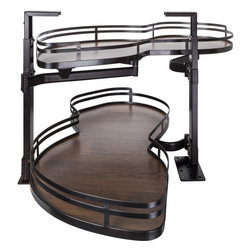 Hardware Resources - Blind Corner Swing Out  Left Handed Unit.  15 Opening - Blind Corner Swing Out  Left Handed Unit. Minimum 15 opening for Frameless or Face Frame Cabinets. Wood Textured solid non slip bottom shelves with Bronze edging  ships complete with installation instructions.