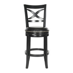 Safavieh - Santino Bar Stool - A lavish X-back detail lets the Santino swivel barstool provide an open, airy vista from the kitchen. Upholstered with black PU leather with bronze nailhead trim, this barstool is crafted of eco-friendly rubberwood in a chic black finish.