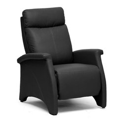 Baxton Studio - Baxton Studio Sequim Black Modern Recliner Club Chair - Lovely black faux leather and intricate detailing make our Sequim Recliner a star.  Perfect as a living room chair, den chair, club chair, or accent chair, versatility is the name of the game.   To recline, brace yourself by gripping the armrests and pushing backward on the chair's backrest.  This will also cause the chair's footrest to extend.  The contemporary recliner is made with a steel mechanism, foam cushioning, and black plastic disc feet.  Made in China; assembly is required.  To clean, wipe with a dry cloth.  This style is also offered in tan (sold separately). Dimensions: 46.875 high x 27.9 inches wide x 32.25 inches deepSeat cushion: 17.9 inches high