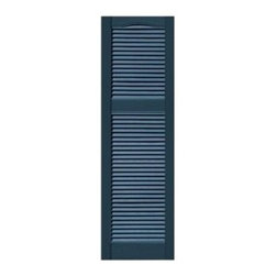 Unequal Mullion Cathedral Top Vinyl Louvered Shutters - Important Features: