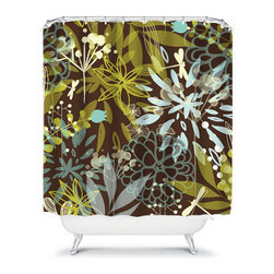Shower Curtain Flower Lime Brown Blue 71x74 Bathroom Decor Made in the USA - DETAILS: