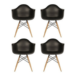 Ariel - Set of 4 Eames Style Daw Molded Plastic Dining Armchair with Wood Eiffel Legs - This set of 4 Eames Style Daw Molded Black Plastic Dining Armchair with Wood Eiffel Legs comes with four beautiful ergonomic arm chairs to easily provide extra seating for your family and guests. Sporting a clean, simple, retro, yet modern design sculpted to fit the body, this gorgeous armchair set is the perfect addition to the kitchen, patio, or deck. Available in white, black, or light blue.