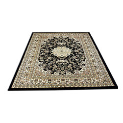 Rug - ~5 ft. x 8 ft. Persian Style Black/Brown Modern Living Room Area Rug - (Machine Made) MONA LISA COLLECTION: