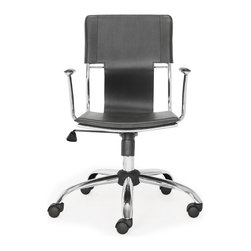 Zuo Modern - Zuo Modern Trafico Modern Office Chair - This fun and functional office chair combines a modern and transitional look. The Trafico office chair is made from a solid chrome frame, leatherette sling seat and arm pads, a chrome base, and an adjustable height mechanism.