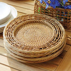 Ballard Designs - Set of 2 Pembroke Chargers - All-natural rattan. Hand woven. Warm honey finish. Handwoven of rattan, our Pembroke Table Collection inspires simple, rustic entertaining at home. Use the Charger to add a layer of textural interest to your table or create stylish storage on a sideboard or kitchen counter. Pembroke Charger features: . . .