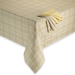Brownstone Studio Ltd. - Tuscan Plaid Laminated Fabric Tablecloth - This tablecloth's warm colors and classic plaid makes it an ideal choice for entertaining. The laminated fabric makes it perfect for outdoors, and it resists stains and spills.