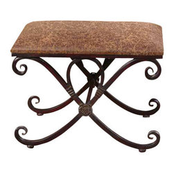 Uttermost Manoj Distressed Small Bench - Dark, coffee brown metal work with mahogany undertones and a padded seat covered in distressed, saddle brown fabric. Dark, coffee brown metalwork with mahogany undertones and a padded seat covered in distressed, saddle brown fabric.