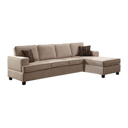 ACME - Acme Lavenita Reversible Sectional Sofa with Chaise in Wheat - Love your living or family room with this reversible sofa/chaise sectional. Exposed legs and sleek track arms are durable and sturdy, while welt cords and accent pillows in complementary tones give the piece an updated style. Pair with the storage ottoman for even more versatility and comfort!